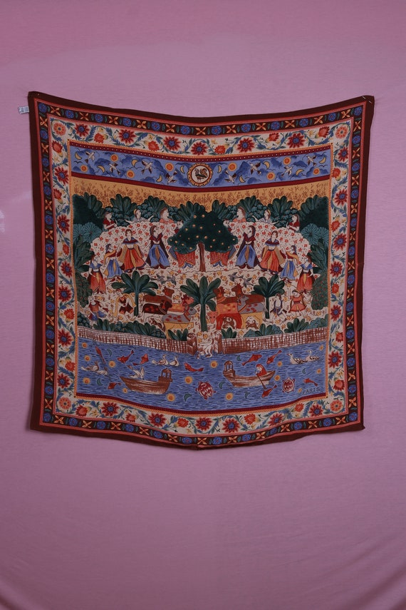 1960's Indian Silk Novelty Scarf