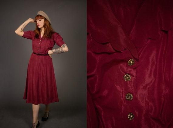 1940's Red Scalloped Dress - 40's Red Rayon Dress
