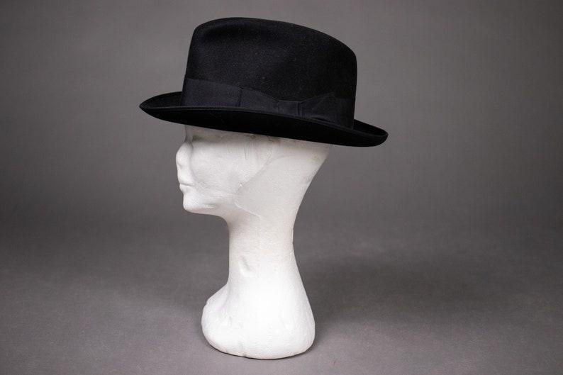 1960/'s super PANIZZA Black Felt Fedora Hat