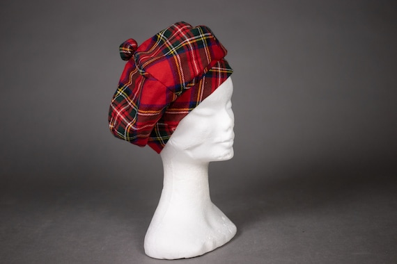 1960's Tartan Wool Beret - 60's Red Scottish Plaid