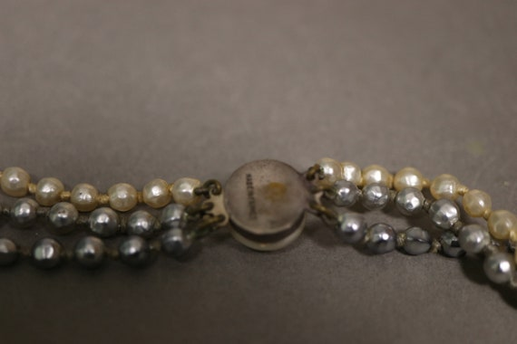 1930's Real Pearl 3 Rows Necklace - 30's Brass an… - image 6