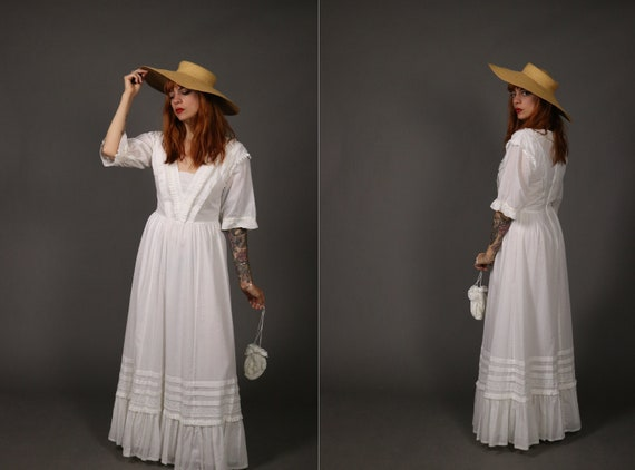 1970's LAURA ASHLEY Maxi Peasant Dress - 70's Laur