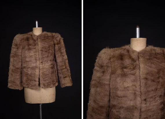 1940's Brown Rabbit Fur Short Coat - 40's Fur Coa… - image 1