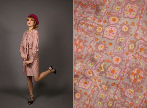 1960's Psychhedelic Idian Print Silk Set - Size -s