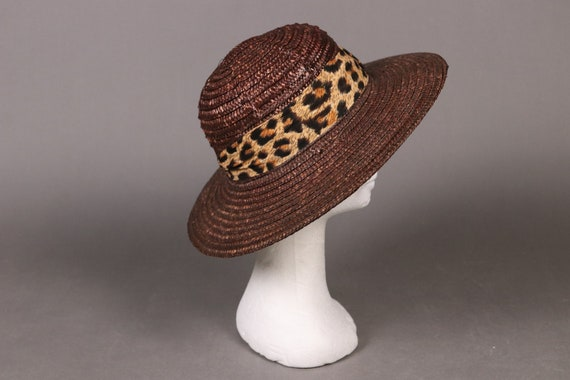 vintage Brown Straw Hat with Leopard Band - 80's … - image 1