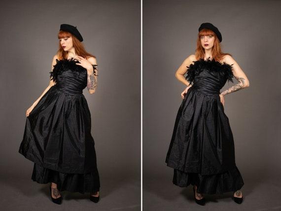 1980's MUREK Black Boa Bustier Dress - 70's Boa Bu
