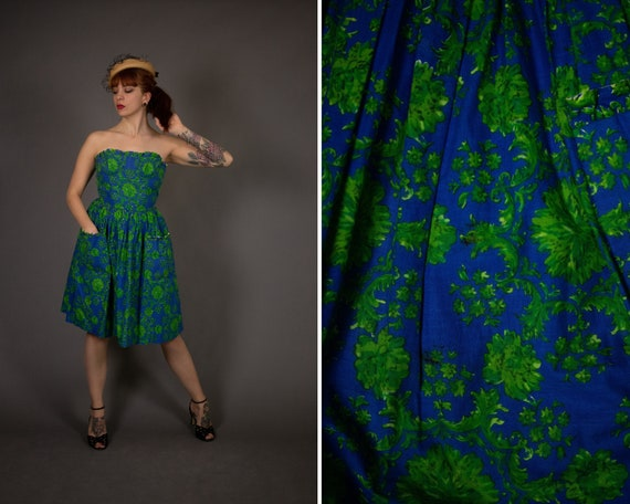 1950's Karoly Couture Bustier Cotton Summer Dress