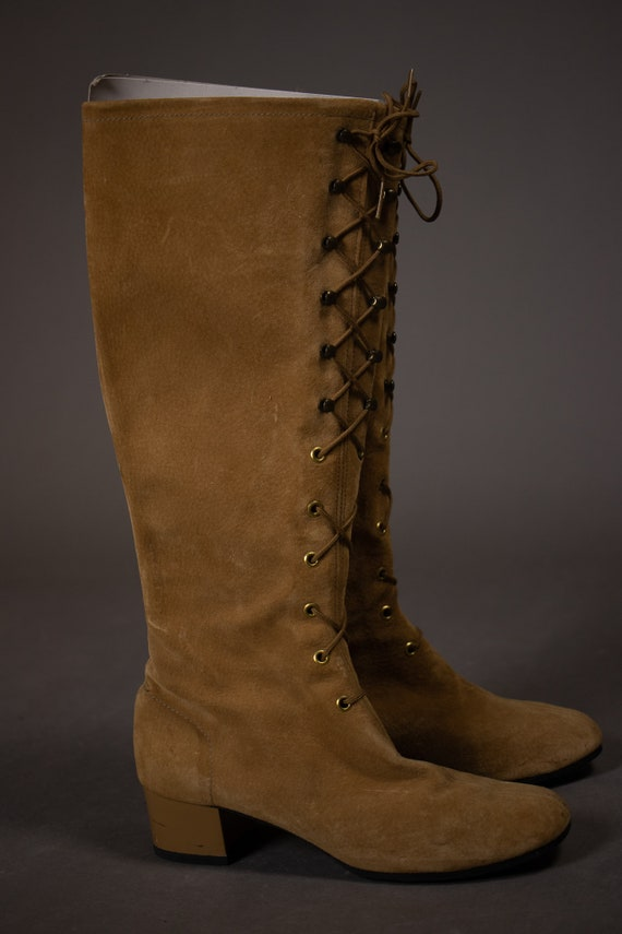 1960's HUSH PUPPIES Tan Suede Leather Gogo Boots … - image 4