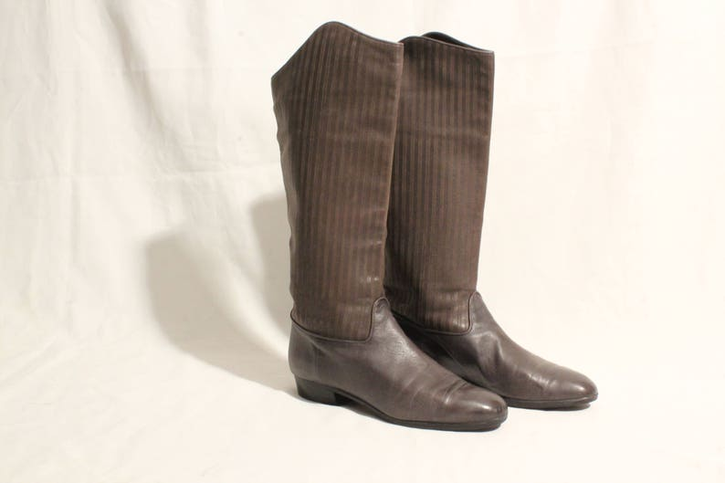 4ac6efdec214f 1980's Gray Leather Pirate Boots - Size Eu38