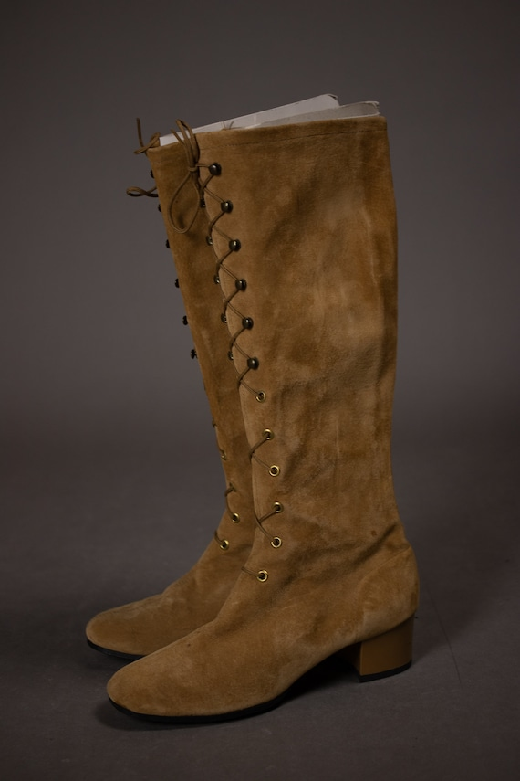 1960's HUSH PUPPIES Tan Suede Leather Gogo Boots … - image 6