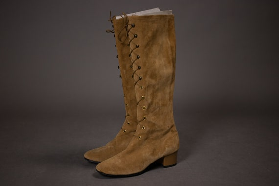1960's HUSH PUPPIES Tan Suede Leather Gogo Boots … - image 7
