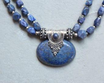 Vintage antique Lapis Lazuli and Silver Necklace - Lapis Lazuli Ethnic Necklace