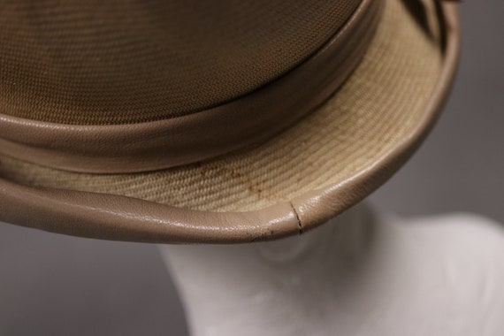 1920's Straw and leather Summer Cloche Hat -  20'… - image 10
