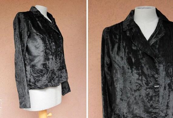 1930's Black Velvet Jacket - 40's Cruched Velvet J
