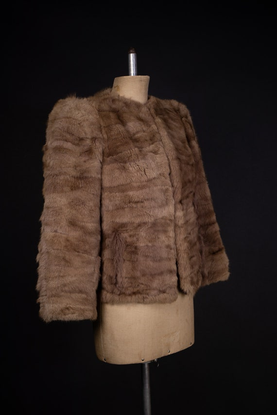 1940's Brown Rabbit Fur Short Coat - 40's Fur Coa… - image 4