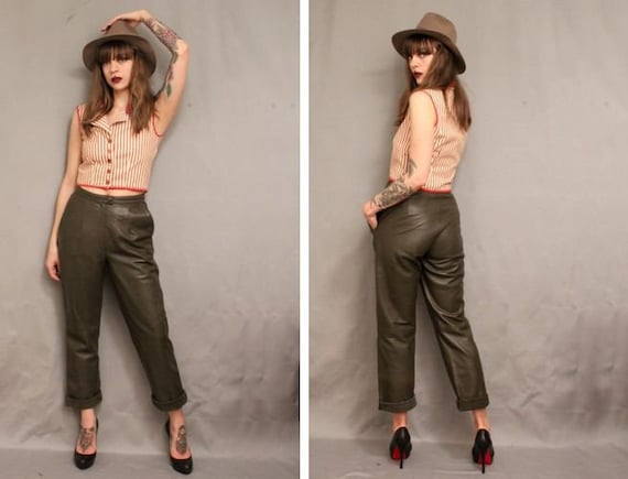 1980's Khaki Leather Trousers - 80's Green Leather