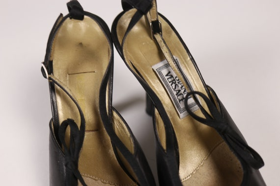 1990's GIANNI VERSACE Black Pointy Shoes - 90's B… - image 10