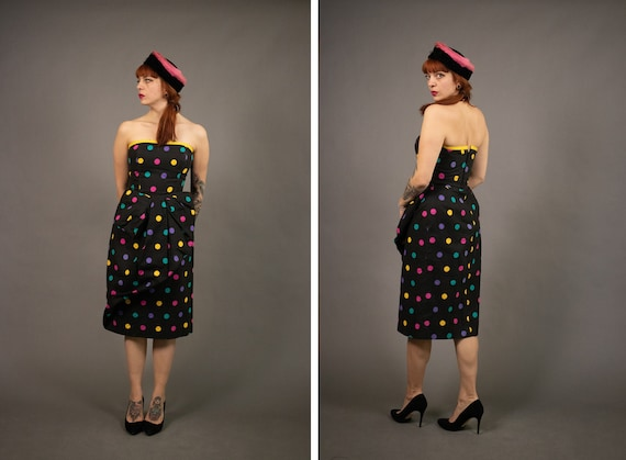 1980's VICTOR COSTA Bustier Dress - Polka Dot Colo
