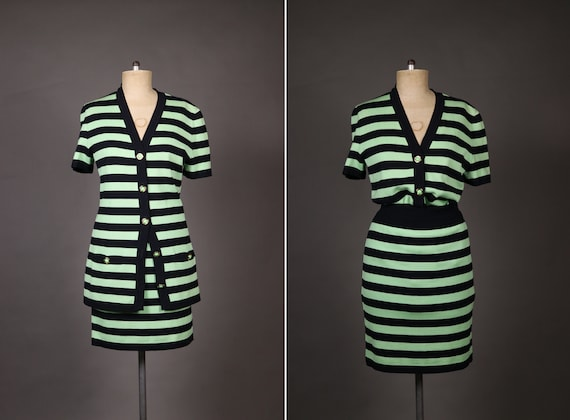1980's ESCADA Wool Striped Suit - 80's 2 Pieces St