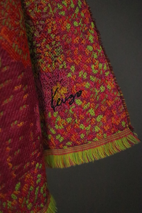 1970's KENZO Large Floral Wool Scarf - image 10