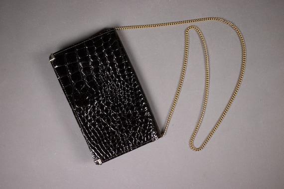 1950's Patent Exotic Skin Clutch Bag