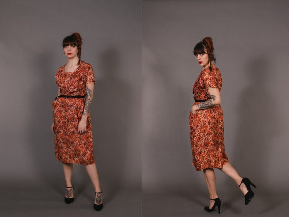 1950's Orange Floral Shift Dress - 50's Orange Poc