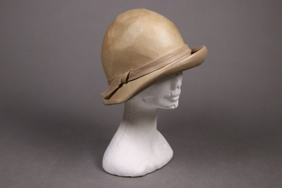 1920's Straw and leather Summer Cloche Hat -  20's