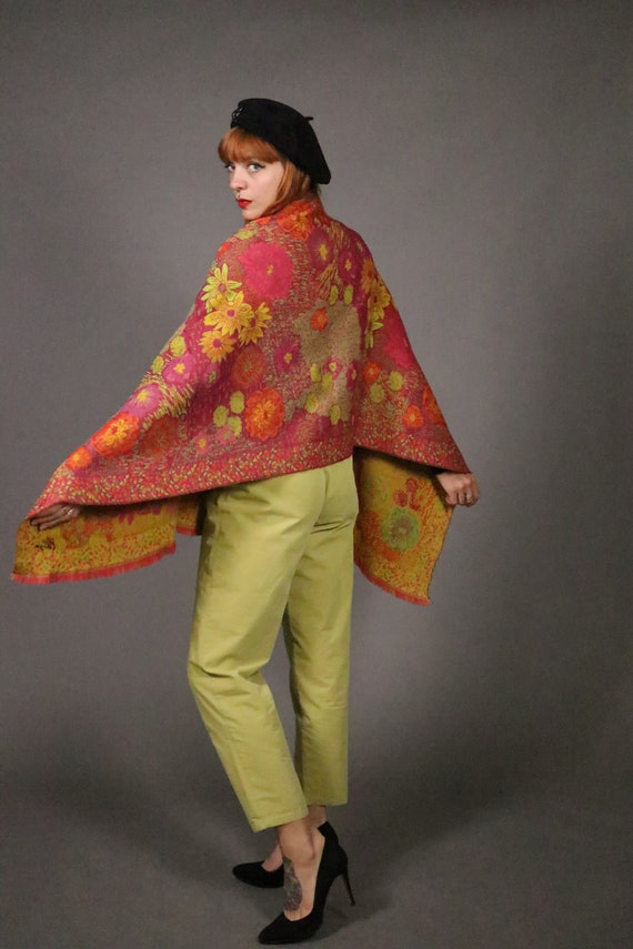 1970's KENZO Large Floral Wool Scarf - image 6