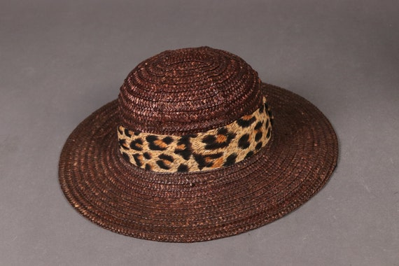 vintage Brown Straw Hat with Leopard Band - 80's … - image 2