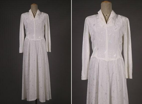 1930's - 1940's Rayon Maxi Wedding Dress – Size M