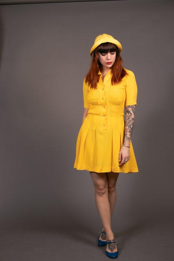 1970's Mini Yellow Crepe Dagger Collar Dress - 70… - image 4