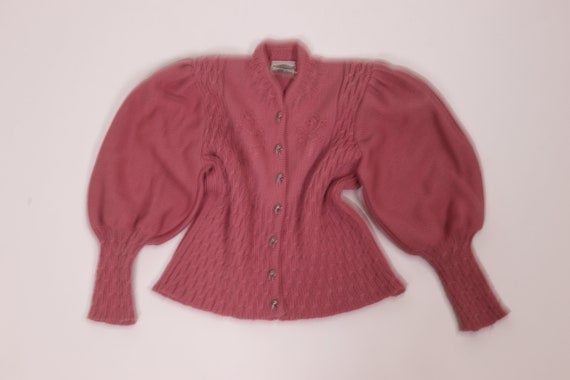 Pale Pink Wool Knit Mutton Sleeve Cardigan - Size