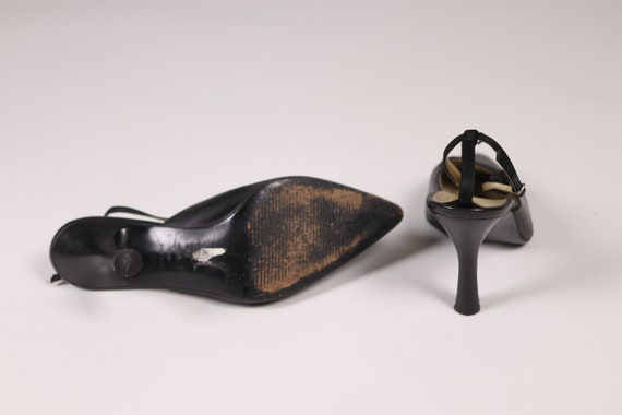 1990's GIANNI VERSACE Black Pointy Shoes - 90's B… - image 8