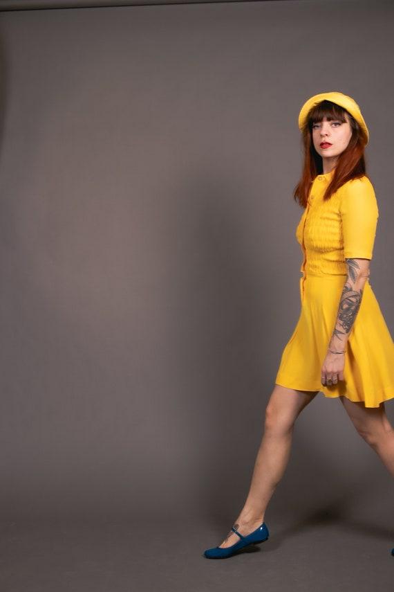 1970's Mini Yellow Crepe Dagger Collar Dress - 70… - image 8