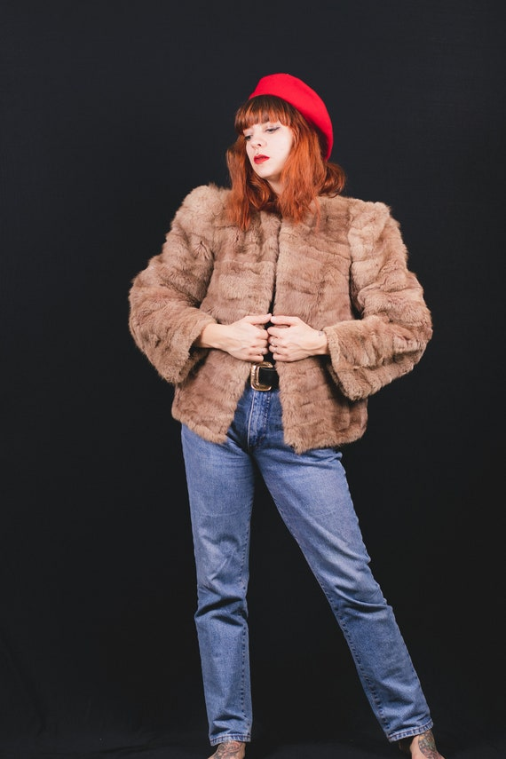 1940's Brown Rabbit Fur Short Coat - 40's Fur Coa… - image 6