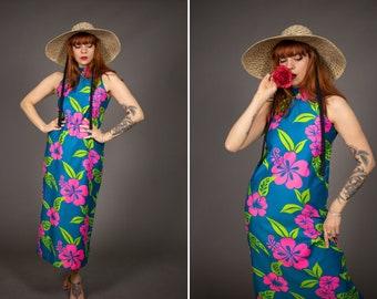 1970's Hawaiian Floral Cotton Dress - 70's Maxi Colourful Summer Dress - Size S - M