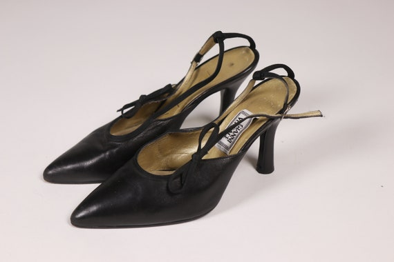 1990's GIANNI VERSACE Black Pointy Shoes - 90's B… - image 5