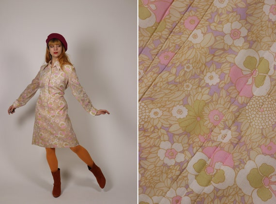 1970's Floral Psychedelic Dagger Collar Dress - Si
