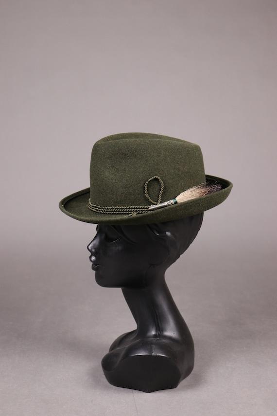 1960's ZINAL SPORT Hunting Green Fedora Hat - 60'… - image 2