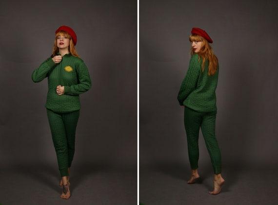 1960's Green  ASTRO THERMO Winter Pyjamas - Size S