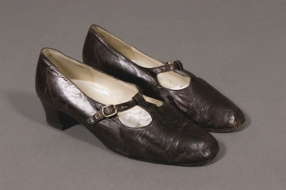 1930's T Strap Mary Jane - 30's Leather Shoes - Si