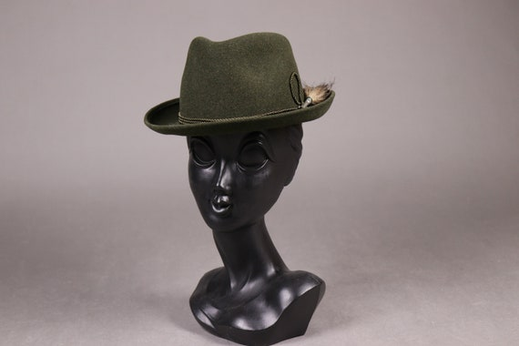 1960's ZINAL SPORT Hunting Green Fedora Hat - 60'… - image 3