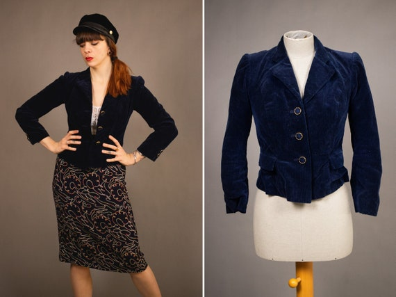 1940's Dark Blue Corduroy and Silk Jacket -  40's