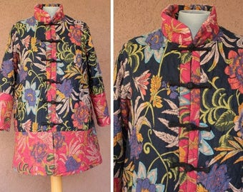 Vintage Chinese Winter Coat - Asian Floral Motif Coat - Size S