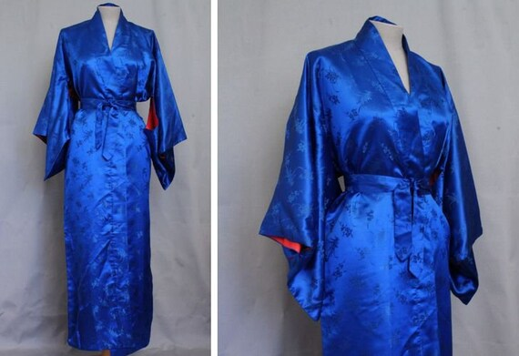 Royal Blue And Red Silk Kimono   Long Floral Blue Japanese Kimono   Size Xs To L by Etsy