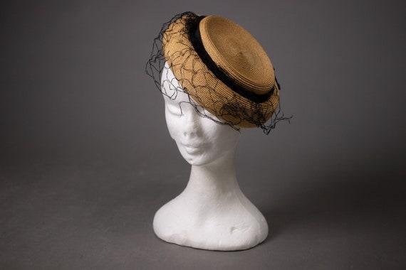 1950's Side Straw Hat - 50's Straw Elegant Summer… - image 5