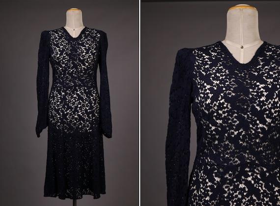 1940's Blue Cotton Lace Dress - 40's Navy Blue She