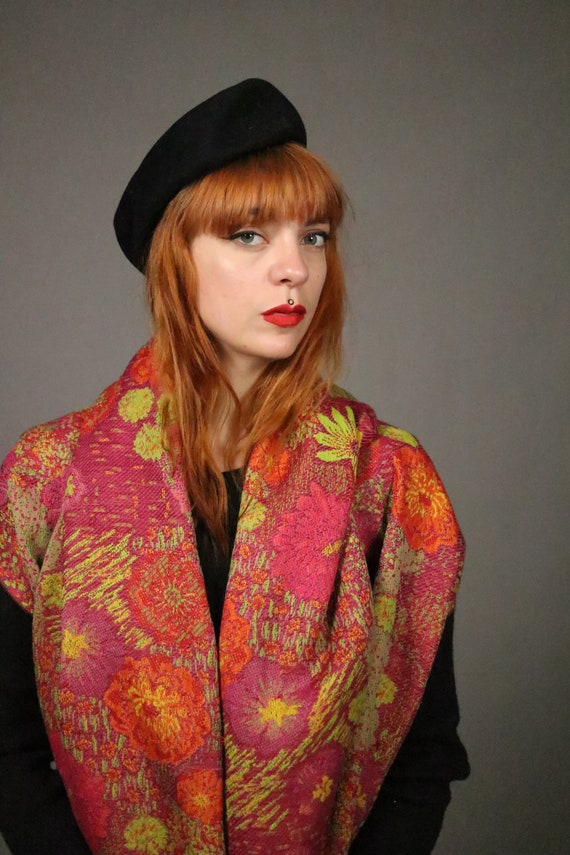 1970's KENZO Large Floral Wool Scarf - image 7