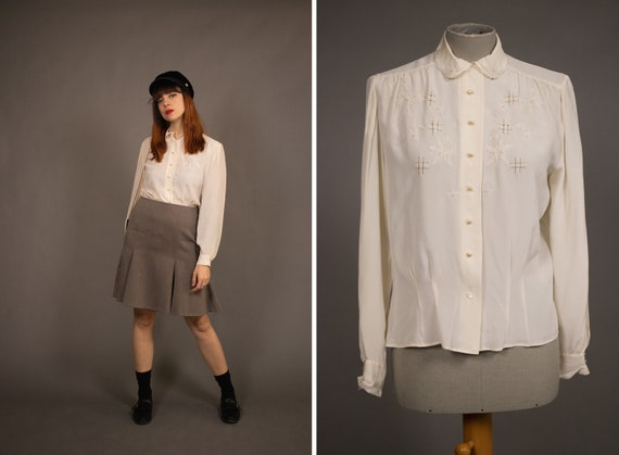 1940's Hilde Kral White Silk Blouse - Size S/M