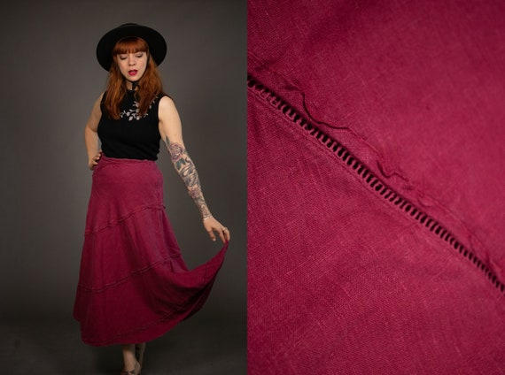 1970's LAURA ASHLEY Raspberry Linen Skirt - Size S - image 1
